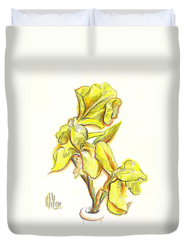 Spanish Irises Duvet Cover featuring the painting Spanish Irises by Kip DeVore