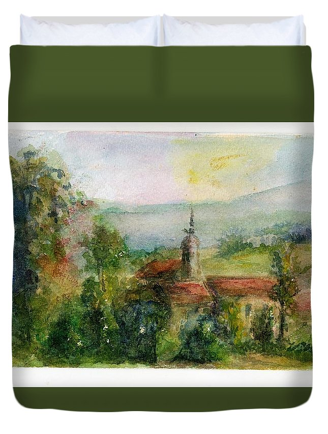Spain Duvet Cover featuring the painting Spanish Landscape by Wendy Le Ber