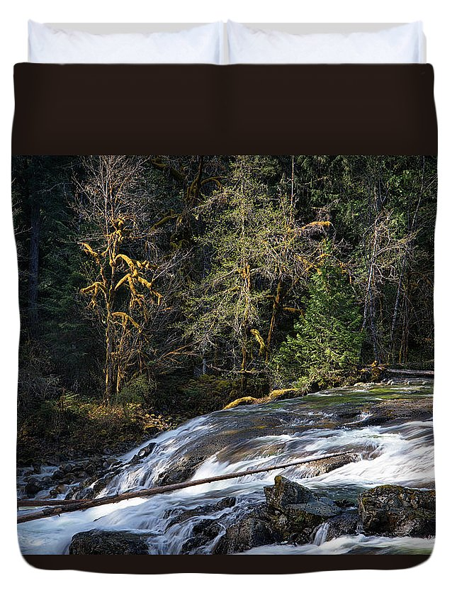 Parksville Duvet Cover featuring the photograph Spanish Moss And Falls by Allan Van Gasbeck