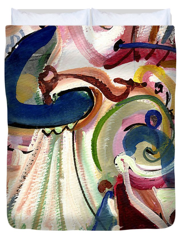 Abstract Art Duvet Cover featuring the painting Spanish Rose by Stephen Lucas