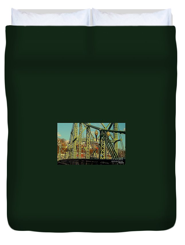 The Free Bridge Duvet Cover featuring the photograph Spanning by Tami Quigley