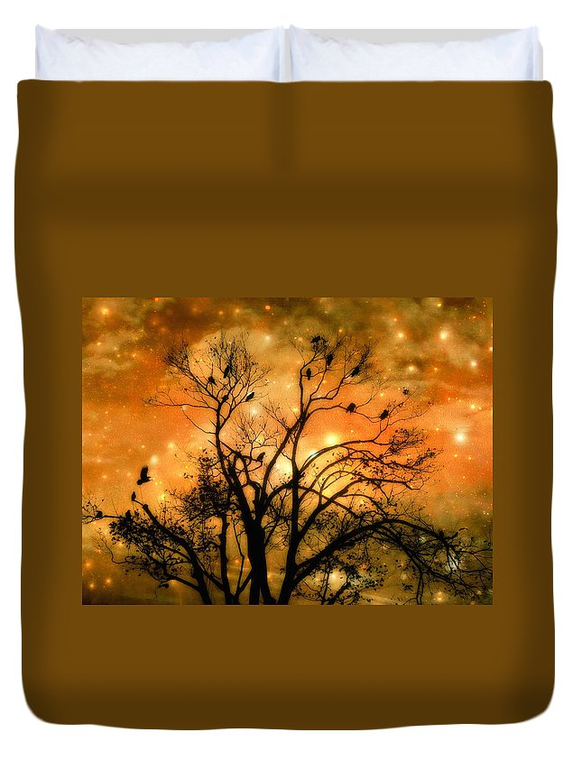 Fantasy Night Duvet Cover featuring the digital art Sparkling Stars Light The Sky by Gothicrow Images