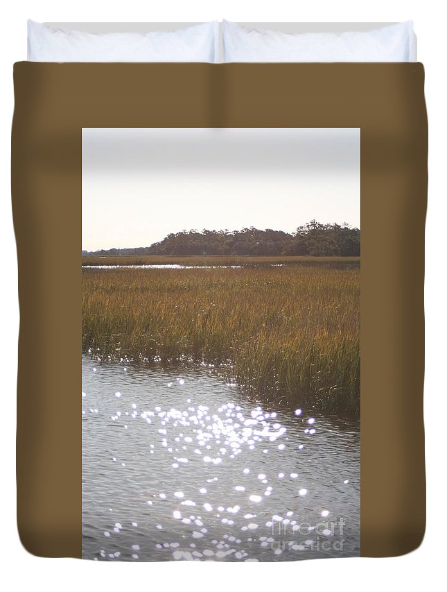 Marsh Duvet Cover featuring the photograph Sparkling Marsh by Nadine Rippelmeyer