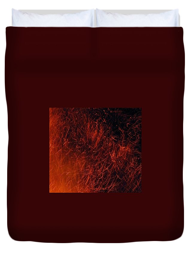Fire Duvet Cover featuring the photograph Sparks by Chris Berry