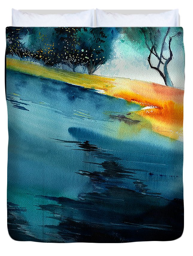 Nature Duvet Cover featuring the painting Spatial 1 by Anil Nene