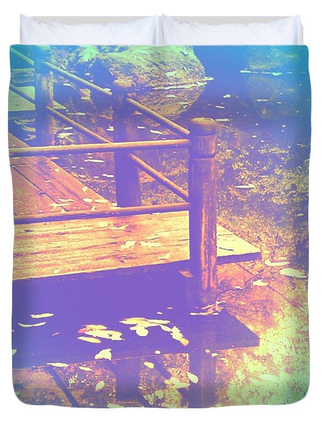 Speak Softly Autumn Reflections Duvet Cover featuring the photograph Speak Softly Autumn Reflections by Anna Porter