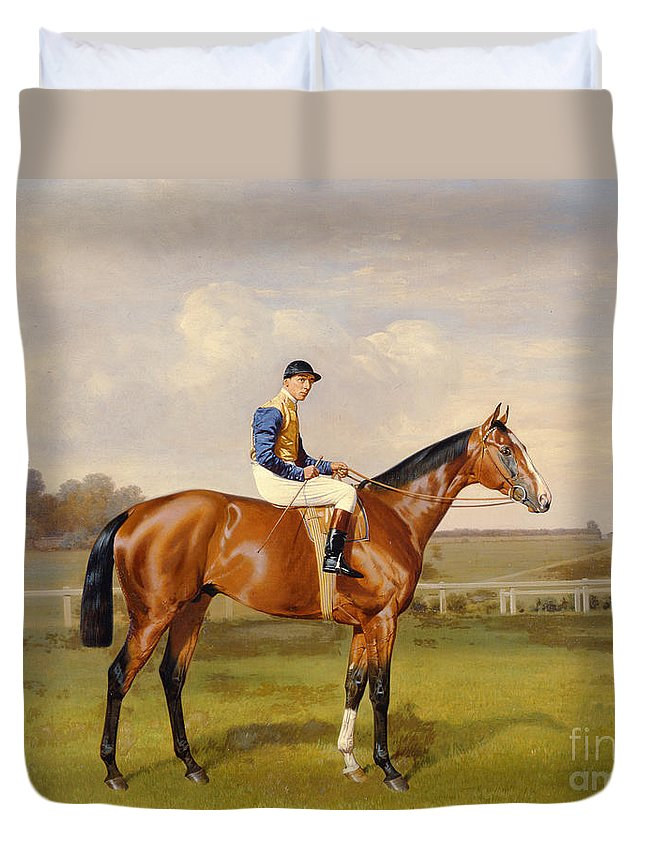 Horse Duvet Cover featuring the painting Spearmint Winner Of The 1906 Derby by Emil Adam