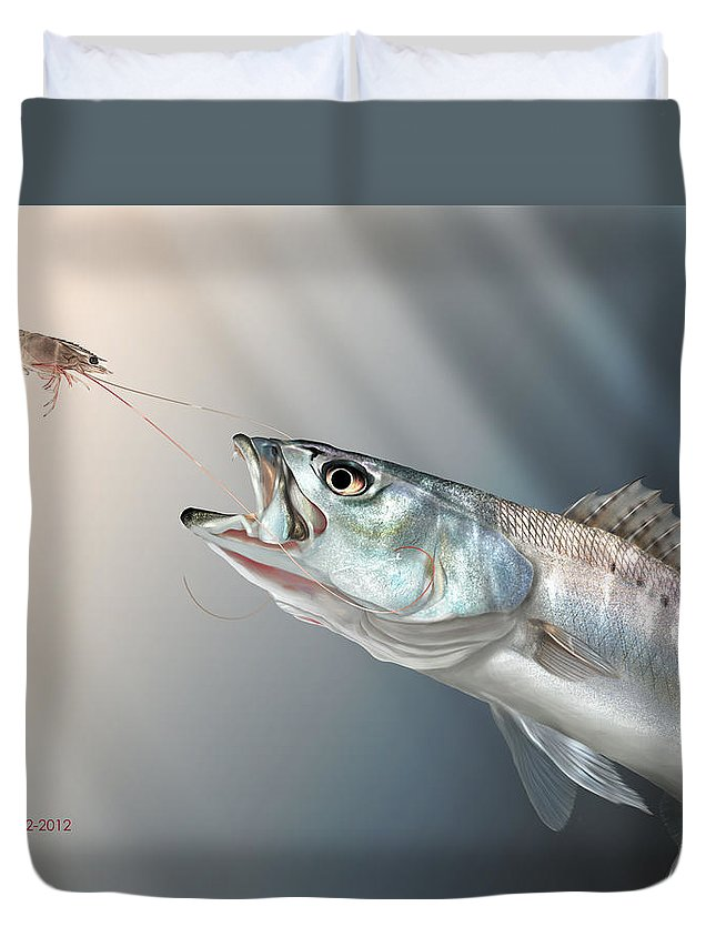 Shrimp Duvet Cover featuring the painting Speck Snack by Hayden Hammond