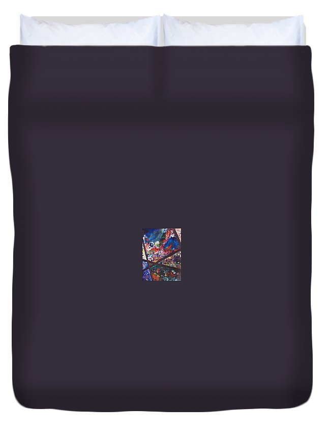 Abstract Duvet Cover featuring the painting Spectral Chaos by Micah Guenther