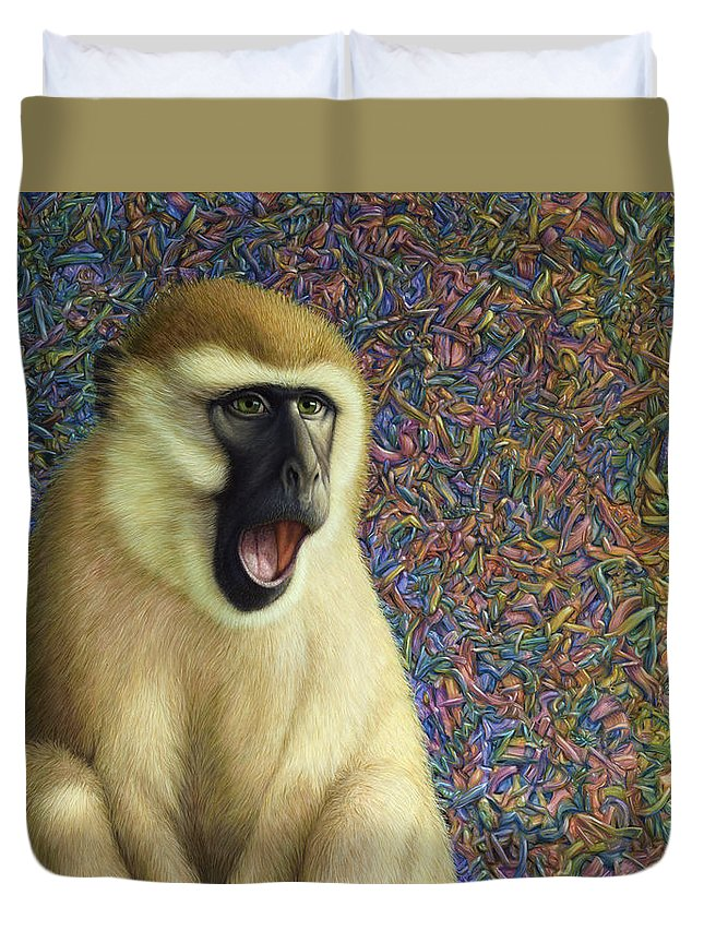 Monkey Duvet Cover featuring the painting Speechless by James W Johnson