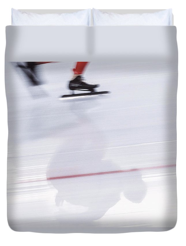 People Duvet Cover featuring the photograph Speed Skating, Action Blur by David Madison