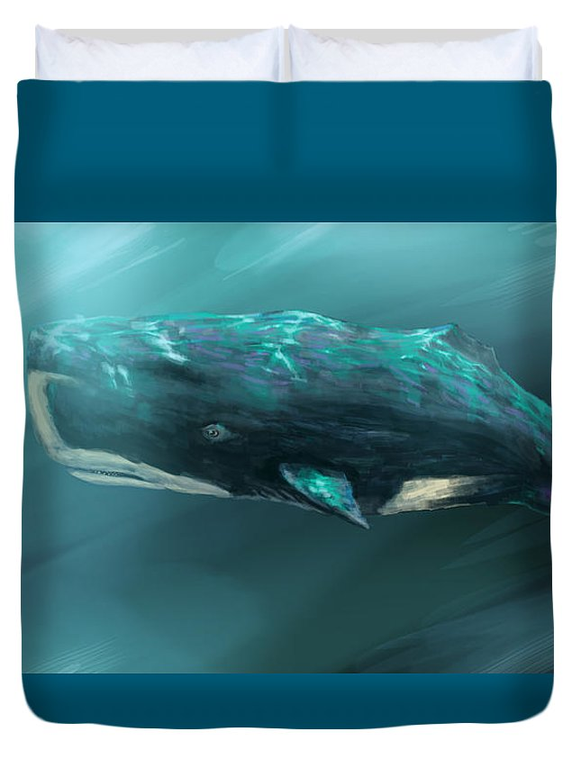 Sperm Whale Duvet Cover featuring the painting Sperm Whale by Miguel Osorio