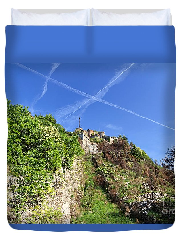 Abandoned Duvet Cover featuring the photograph Sperone Fortress In Genova by Antonio Scarpi