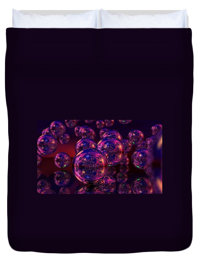 Abstract Duvet Cover featuring the digital art Spheres, No. 5 by James Kramer