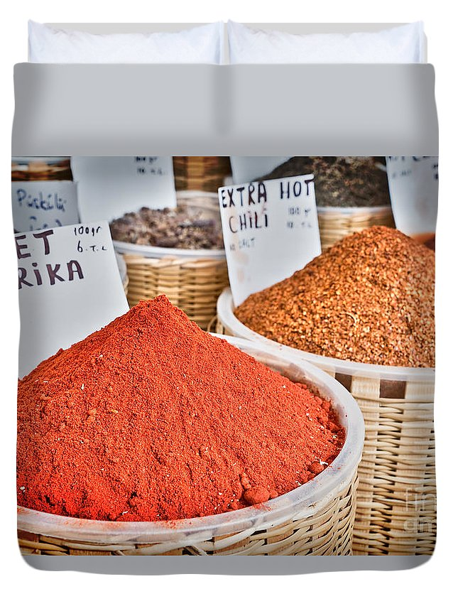 Spices Duvet Cover featuring the photograph Spice Market by Delphimages Photo Creations