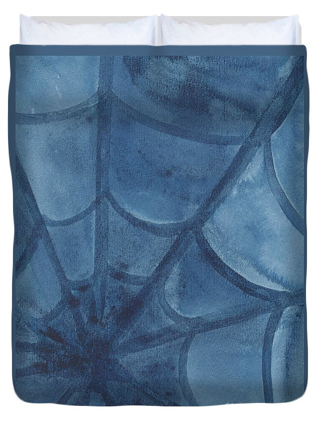 Web Duvet Cover featuring the painting Spiders Web by Kerstin Ivarsson
