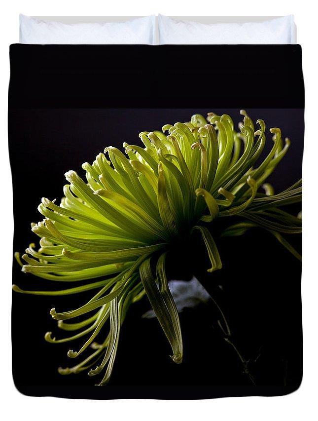 Green Duvet Cover featuring the photograph Spike by Sennie Pierson