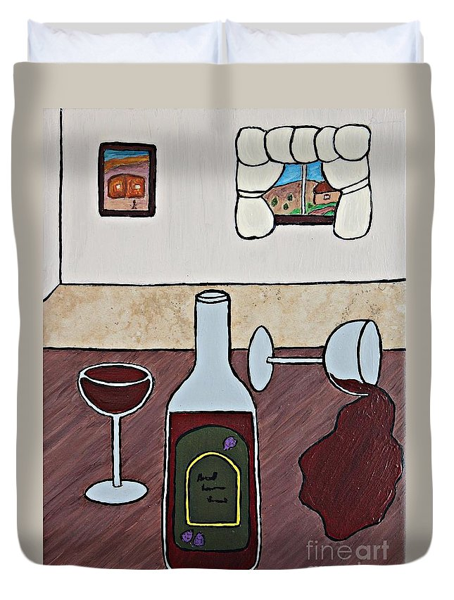 Folk Art Duvet Cover featuring the painting Essence Of Home - Spilt Glass Of Wine by Sheryl Young