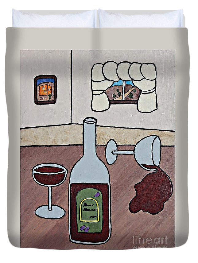 Folk Art Duvet Cover featuring the painting Essence Of Home - Spilt Wine by Sheryl Young