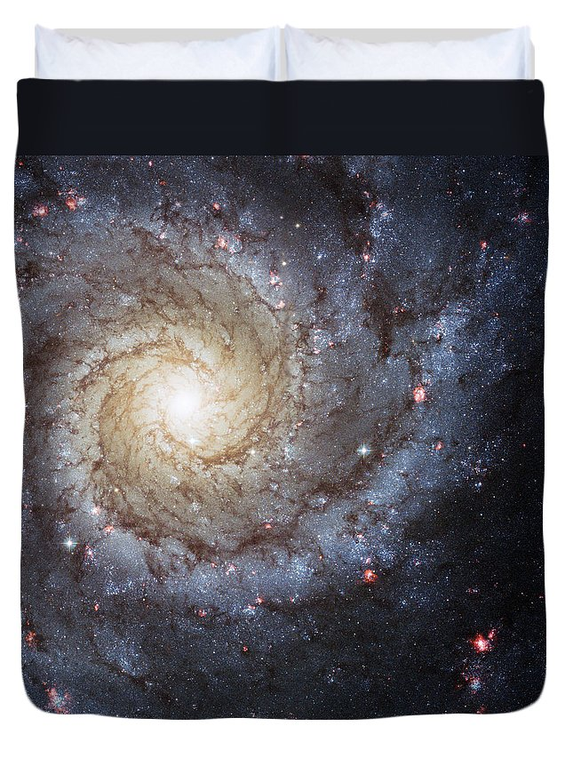 3scape Duvet Cover featuring the photograph Spiral Galaxy M74 by Adam Romanowicz
