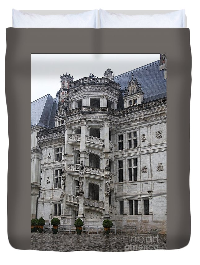 Stairs Duvet Cover featuring the photograph Spiral Staircase Chateau Blois by Christiane Schulze Art And Photography