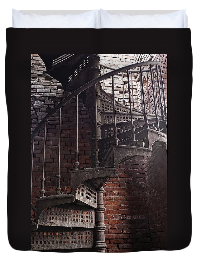 Train Depot Duvet Cover featuring the photograph Spiral Staircase Depot by Frank Morales Jr