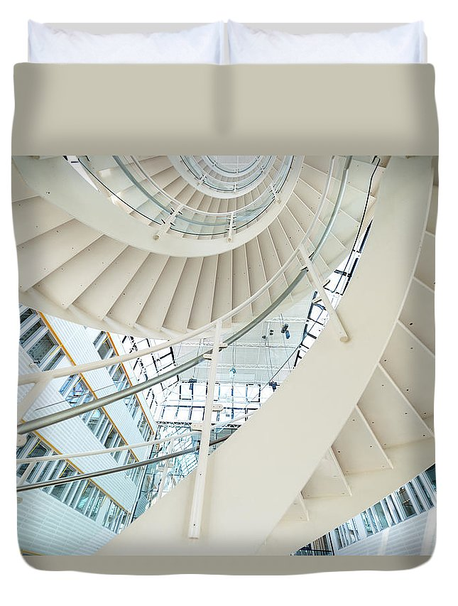 Steps Duvet Cover featuring the photograph Spiral Staircase Inside Office Complex by Blurra