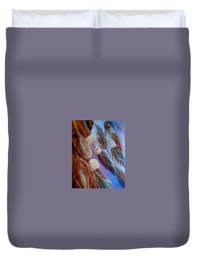 Feathers Duvet Cover featuring the painting Spirit Feathers by Sherry Strong