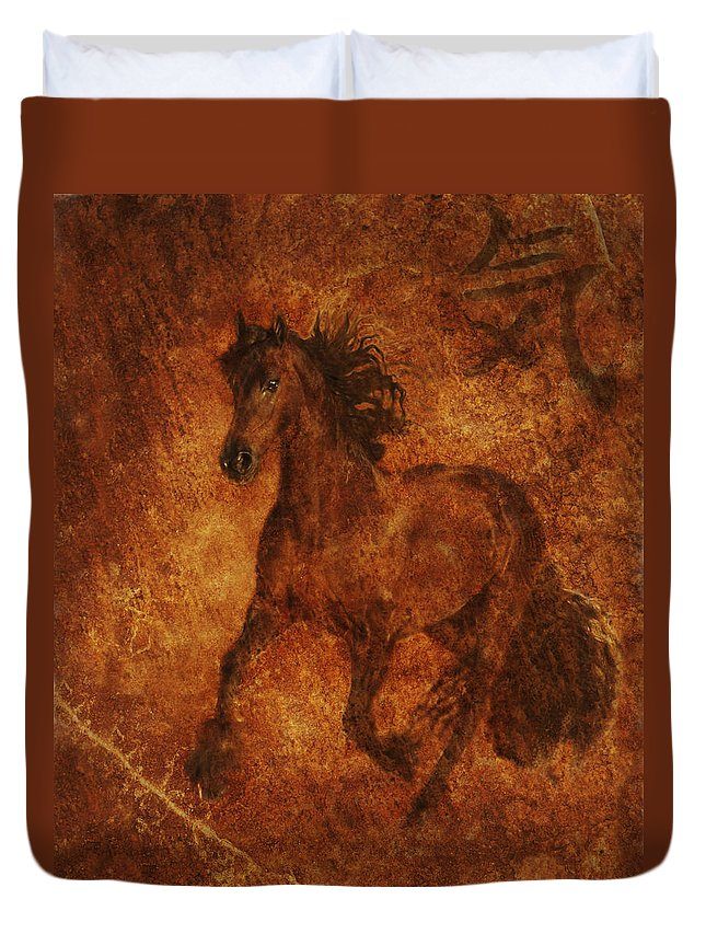 Chinese Horse Art Duvet Cover featuring the photograph Spirit by Melinda Hughes-Berland