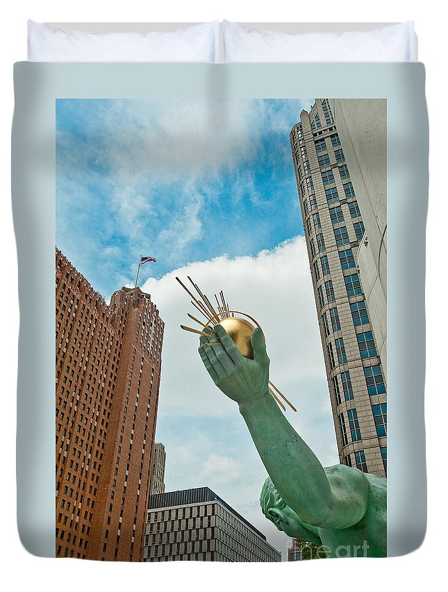 Detroit Duvet Cover featuring the photograph Spirit Of Detroit's Left Hand by Steven Dunn