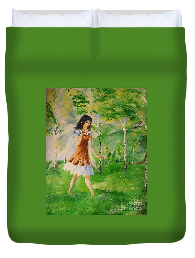 Duvet Cover featuring the painting Spirit Of The Dew by Katerina Naumenko