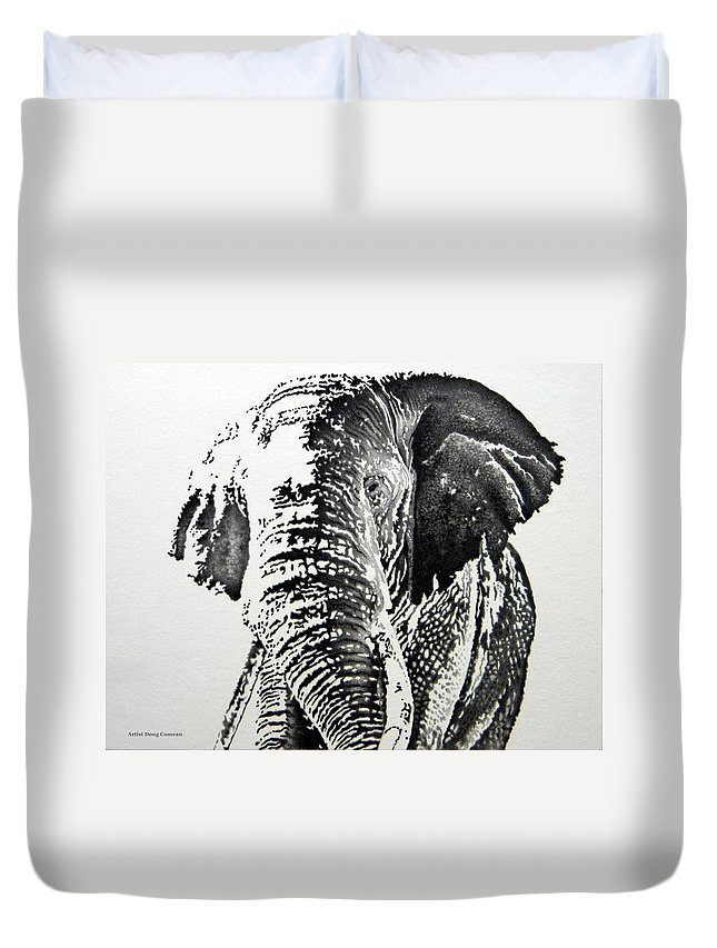 Elephant Duvet Cover featuring the drawing Spirit Of The Serengeti by Stirring Images