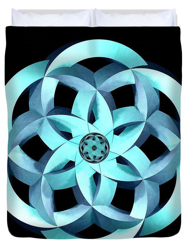 Moebius Duvet Cover featuring the digital art Spirit Of Water 1 - Blue by David Voutsinas
