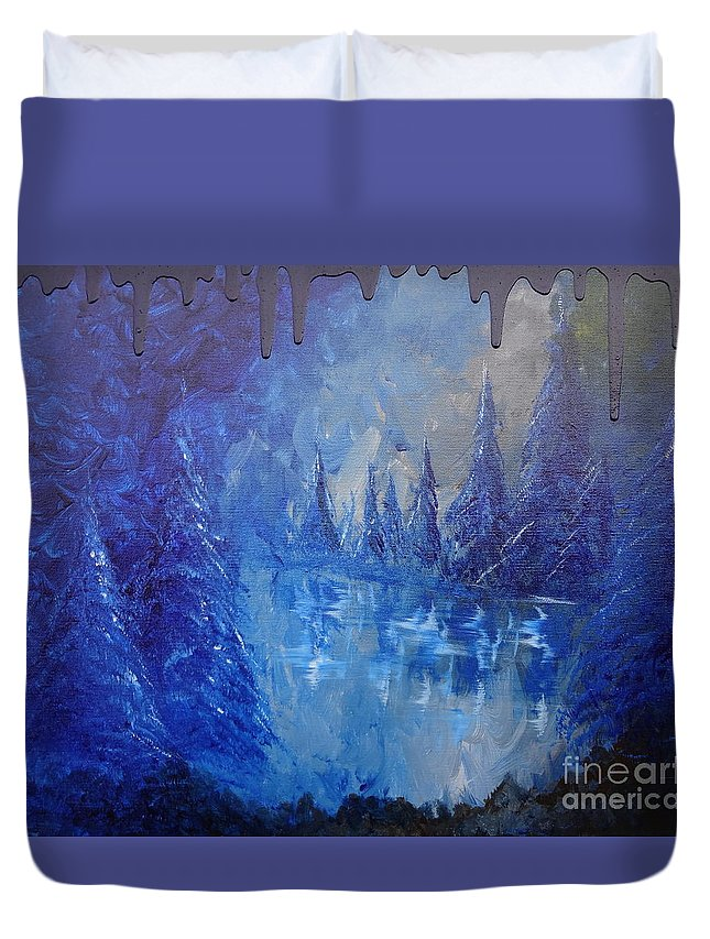 Spirit Pond Duvet Cover featuring the painting Spirit Pond by Jacqueline Athmann