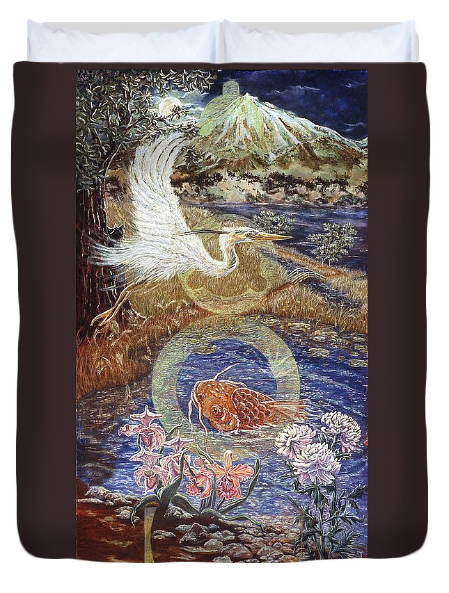 Interior Design Decor Duvet Cover featuring the painting Spirit Rising by Gail Allen