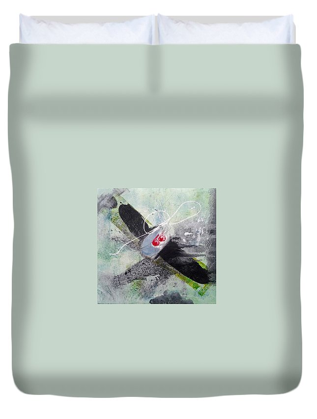 Plane Duvet Cover featuring the painting Spirit Spiral by Lesley Fletcher