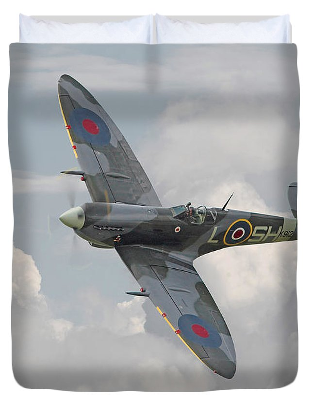 Aircraft Duvet Cover featuring the digital art Spitfire - Elegant Icon by Pat Speirs