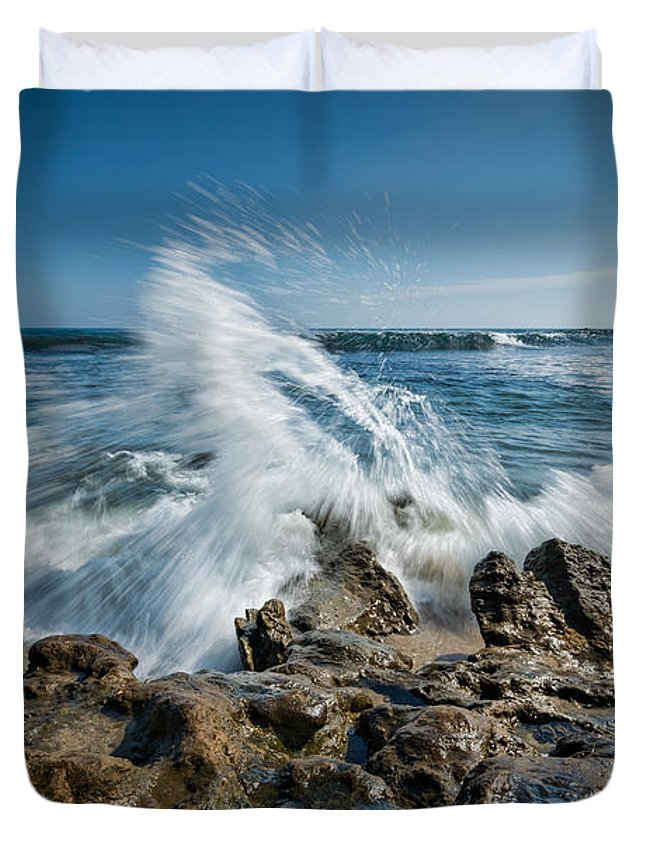 Rushing Water Duvet Cover featuring the photograph Splash In Motion by Michael Ver Sprill