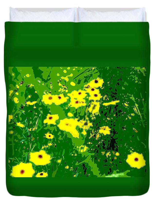 Yellow Tickseed Duvet Cover featuring the digital art Splash Of Yellow by Norman Johnson