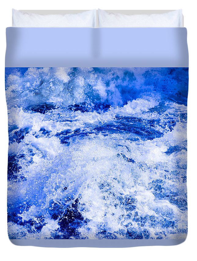 Splashing Duvet Cover featuring the photograph Splashing Water In Rapid River by Kerstin Ivarsson