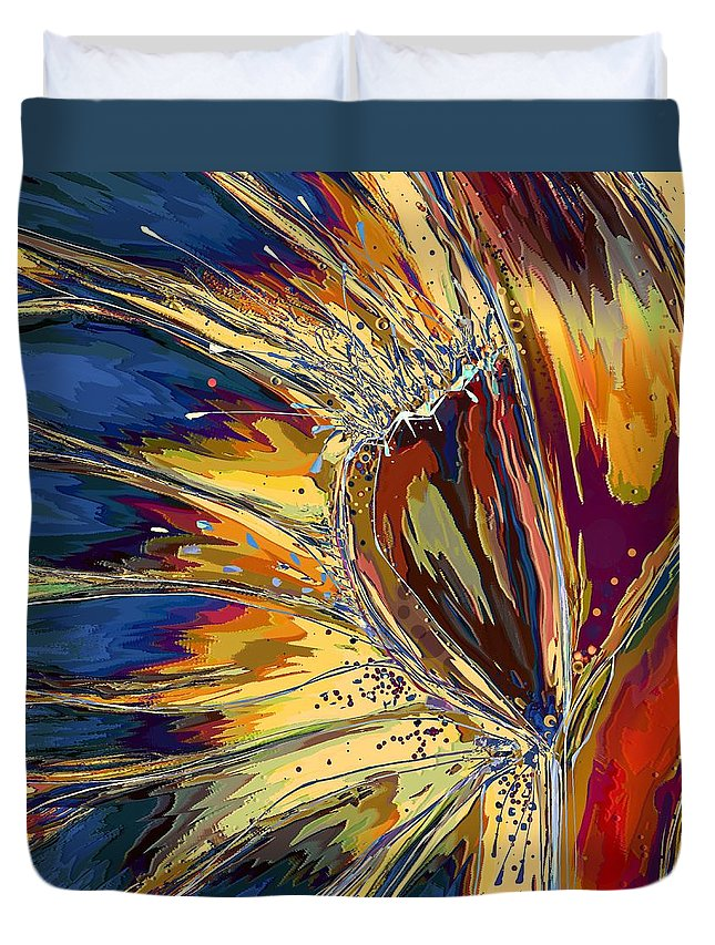 Abstract Duvet Cover featuring the digital art Splatter by Mary Eichert