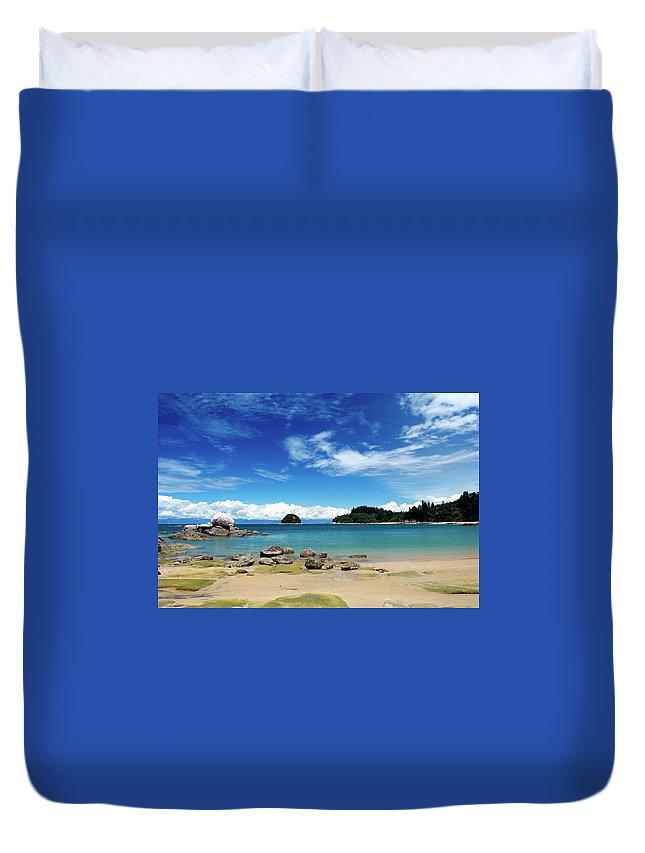 Scenics Duvet Cover featuring the photograph Split Apple Rock, Abel Tasman National by Lazingbee