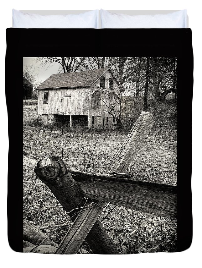 Fence Duvet Cover featuring the photograph Split Rail Fence by Fran Gallogly