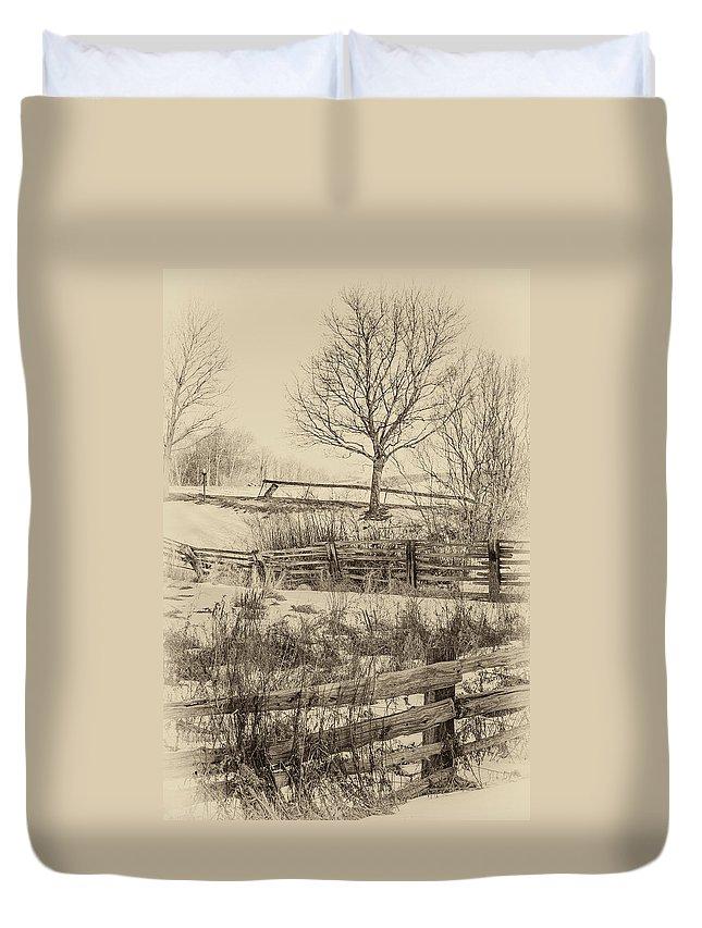 Steve Harrington Duvet Cover featuring the photograph Split Rail Winter Sepia by Steve Harrington