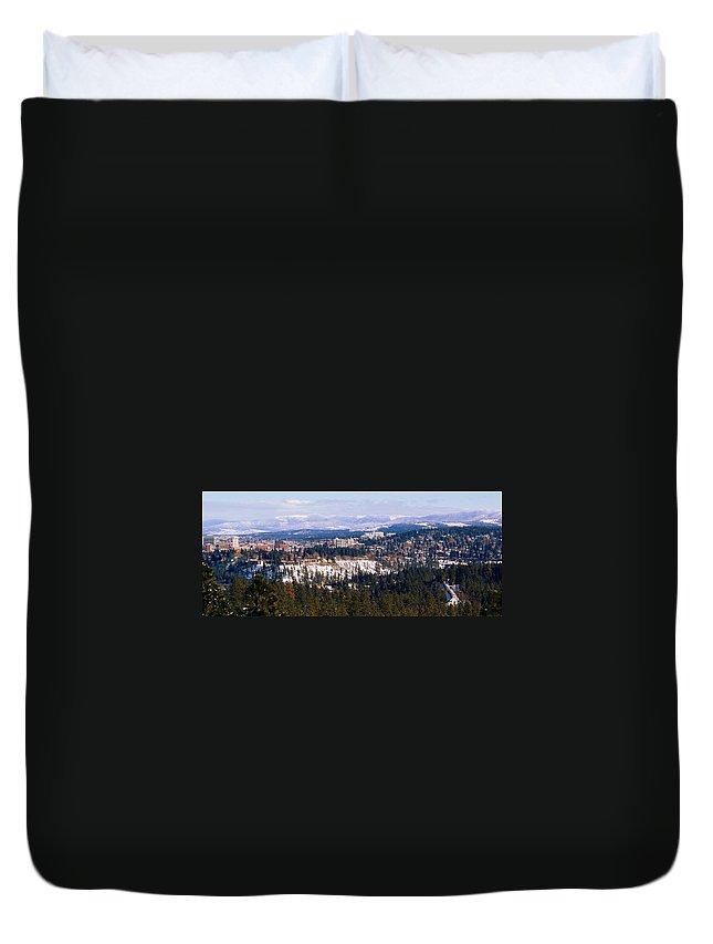 Spokane Duvet Cover featuring the photograph Spokane View 2-4-14 by Ben Upham III