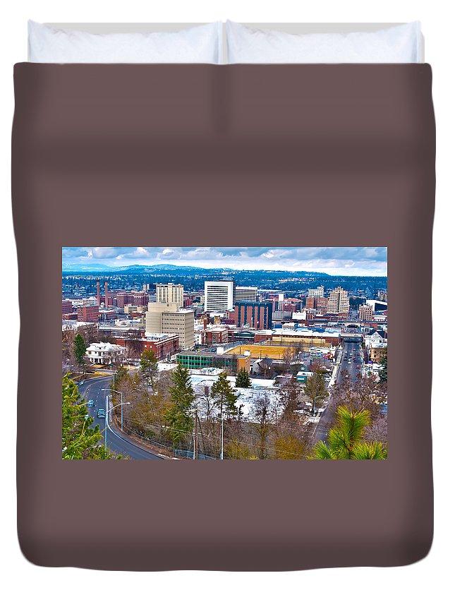 Architecture Duvet Cover featuring the photograph Spokane Washington by Alex Grichenko