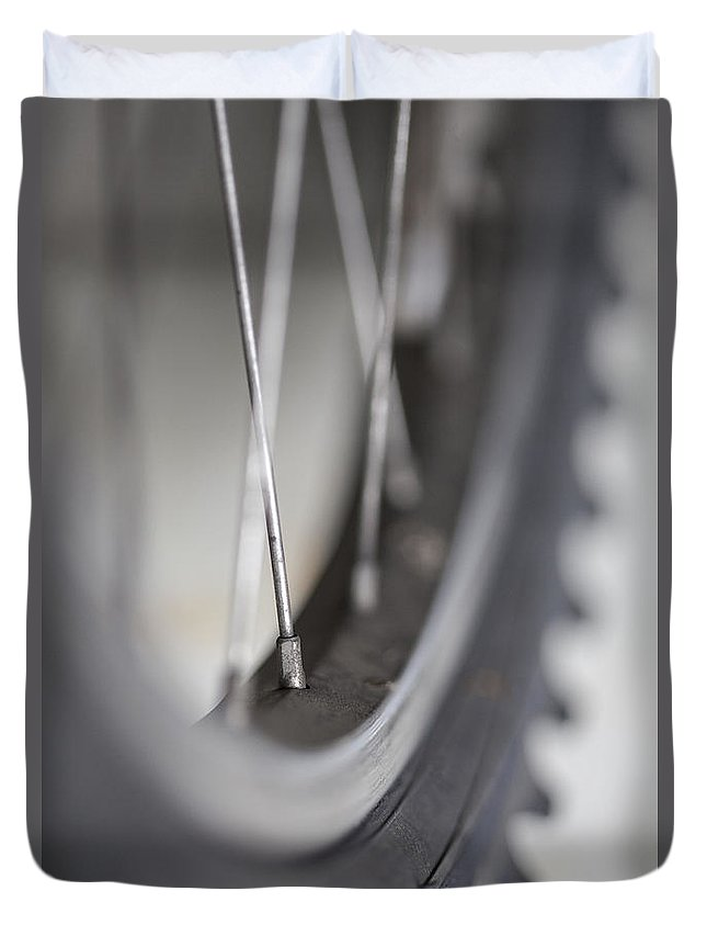 Bike Duvet Cover featuring the photograph Spoke by Karol Livote