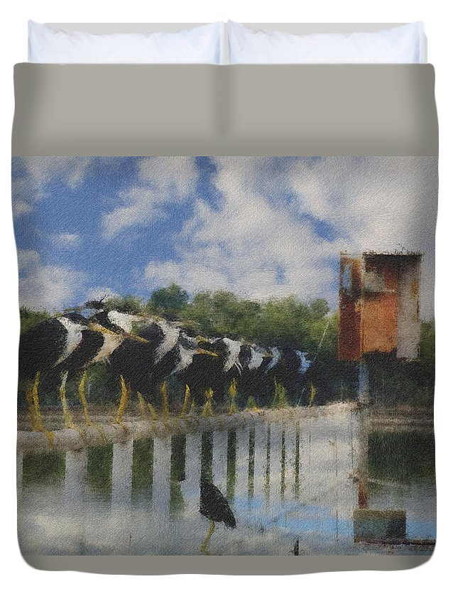 Pied Herons Duvet Cover featuring the photograph Spot The Odd One Out V2 by Douglas Barnard