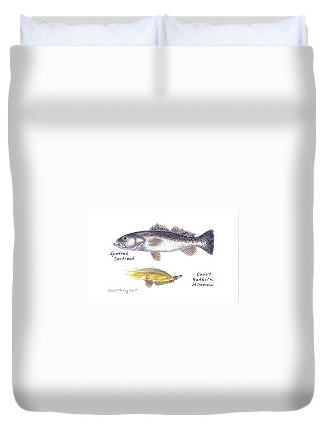 Fly Duvet Cover featuring the drawing Spotted Seatrout And Rattlin' Minnow Fly by Daniel Lindvig