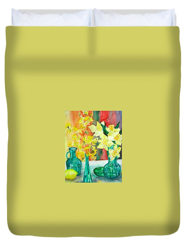 Spring Duvet Cover featuring the painting Spring by Anna Ruzsan